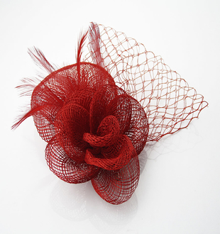 LSH0042 -  Red Feather & Mesh Fascinator