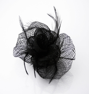 LSH0038 -  Black Feather & Mesh Fascinator