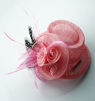LSH0053 -  Pink Mesh Hat Feather Fascinator