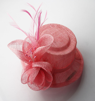 LSH0054 -   Pink Mesh Hat Feather Fascinator