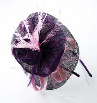 LSH0056 - Purple Feather and Flower Fascinator on Headband