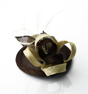 LSH0043 -  Coffee/Beige Feather & Mesh Fascinator