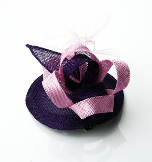 LSH0043 -  Purple Feather & Mesh Fascinator
