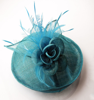 LSH0051 - Teal Feather and Mesh Flower Fascinator