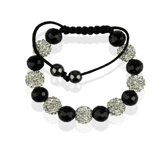 LSB0010-White Shamballa Bracelet Crystal-Disco Ball Friendship Bead