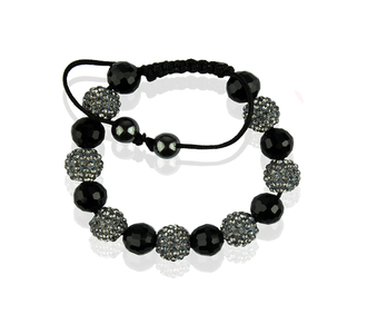 LSB0010-Grey Shamballa Bracelet Crystal-Disco Ball Friendship Bead
