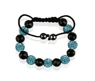 LSB0010-Teal Shamballa Bracelet Crystal-Disco Ball Friendship Bead