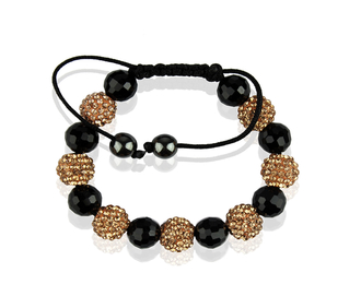 LSB0010-Champagne Shamballa Bracelet Crystal-Disco Ball Friendship Bead