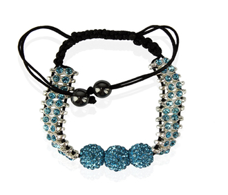 LSB0015-Teal Shamballa Bracelet Crystal-Disco Ball Friendship Bead