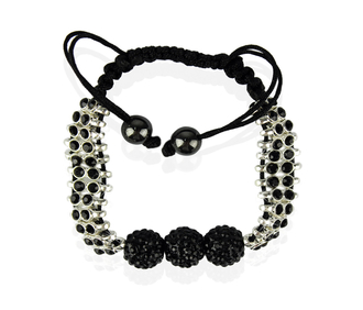 LSB0015-Black Shamballa Bracelet Crystal-Disco Ball Friendship Bead
