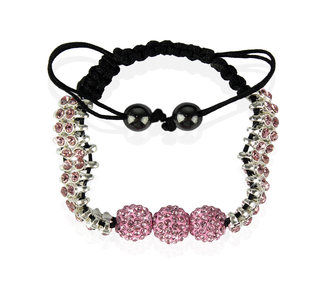 LSB0015-Pink Shamballa Bracelet Crystal-Disco Ball Friendship Bead