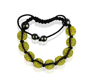 LSB0017-Yellow Shamballa Bracelet Crystal-Disco Ball Friendship Bead