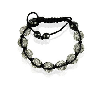 LSB0017-White Shamballa Bracelet Crystal-Disco Ball Friendship Bead