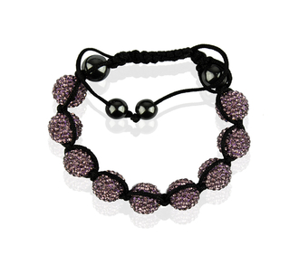 LSB0017-Purple Shamballa Bracelet Crystal-Disco Ball Friendship Bead