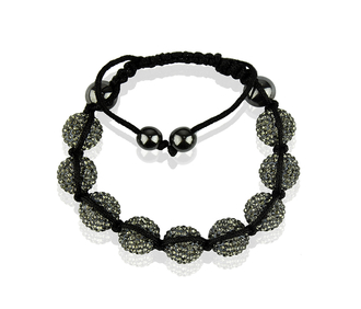 LSB0017-Grey Shamballa Bracelet Crystal-Disco Ball Friendship Bead