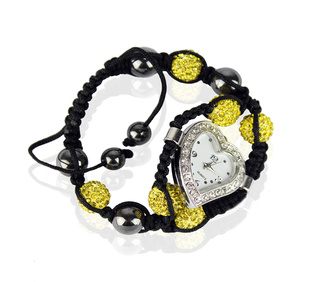 LSB0019-Yellow Crystal Shamballa Watch Bracelets ( Decorative watch)