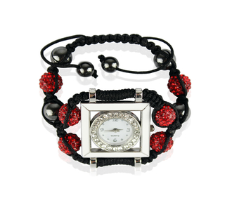 LSB0020-Red Crystal Shamballa Watch Bracelets ( Decorative watch)