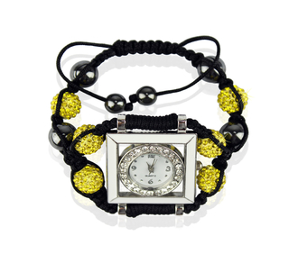 LSB0020-Yellow Crystal Shamballa Watch Bracelets ( Decorative watch)
