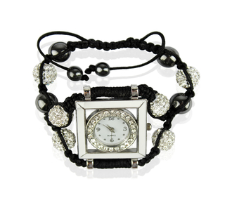 LSB0020-White Crystal Shamballa Watch Bracelets ( Decorative watch)