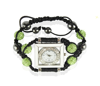 LSB0020-Green Crystal Shamballa Watch Bracelets ( Decorative watch)