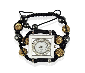 LSB0020-Coffee Crystal Shamballa Watch Bracelets ( Decorative watch)