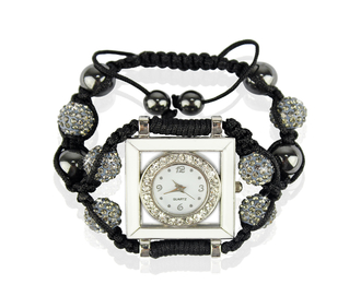 LSB0020-Grey Crystal Shamballa Watch Bracelets ( Decorative watch)