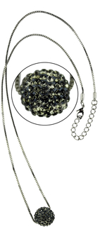 LSN005-Grey Sparkling Disco Ball Necklace