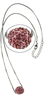 LSN005-Pink Sparkling Disco Ball Necklace