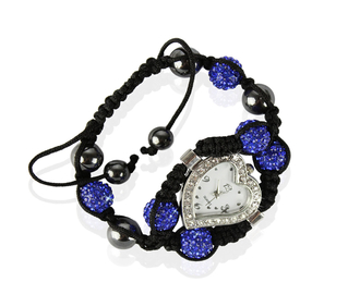 LSB0019-Blue Crystal Shamballa Watch Bracelets ( Decorative watch)