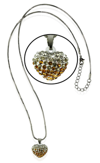 LSN006- Sparkling Yellow Heart Crystal Necklace