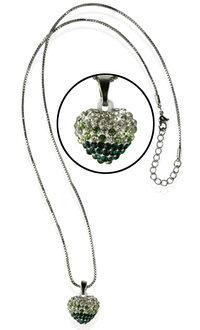 LSN006- Sparkling Green Heart Crystal Necklace