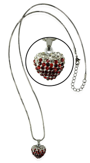LSN006- Sparkling Red Heart Crystal Necklace