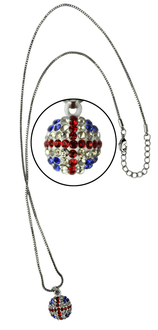 LSN007-Union Jack Sparkling Disco Ball Necklace