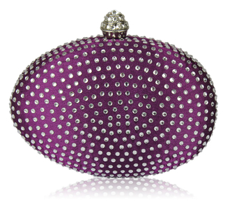 LSE00123 - Purple Diamante Hardcase Clutch Bag