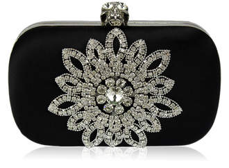 LSE00134- Black Sparkly Crystal Satin Clutch purse
