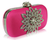 LSE00134-Wholesale & B2B Pink Sparkly Crystal Satin Clutch purse Supplier & Manufacturer