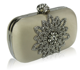 LSE00134-Beige Sparkly Crystal Satin Clutch purse
