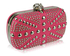 LSE00135-Pink Studded Clutch Bag With Crystal-Encrusted Skull Clasp