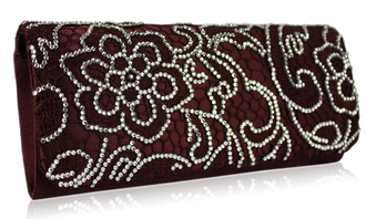 LSE00138-Red Satin Clutch Bag With  Diamante Decorative Flower