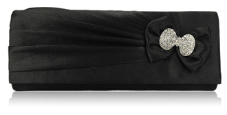 LSE00141- Black Sparkly Crystal Satin Clutch purse