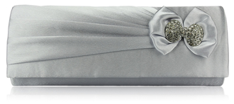 LSE00141- Silver Sparkly Crystal Satin Clutch purse