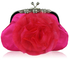 LSE00143 - Pink Crystal Flower Satin Clutch