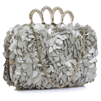 LSE00145- Silver Grey Women's Knuckle Rings Evening Bag