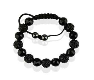 LSB0010-Black Shamballa Bracelet Crystal-Disco Ball Friendship Bead