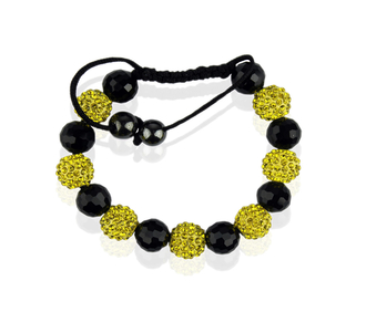 LSB0010-Yellow Shamballa Bracelet Crystal-Disco Ball Friendship Bead