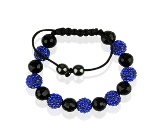 LSB0010-Blue Shamballa Bracelet Crystal-Disco Ball Friendship Bead