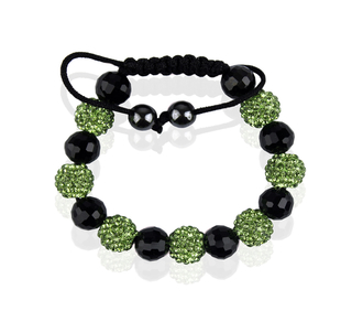 LSB0010-Light Green Shamballa Bracelet Crystal-Disco Ball Friendship Bead