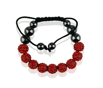 LSB0012-Red Shamballa Bracelet Crystal-Disco Ball Friendship Bead