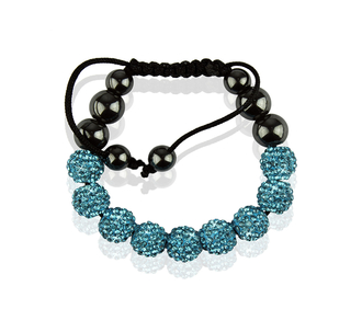 LSB0012-Wholesale & B2B Teal Shamballa Bracelet Crystal-Disco Ball Friendship Bead Supplier & Manufacturer