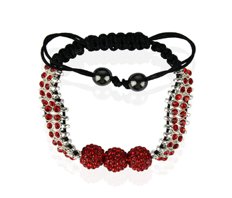 LSB0015-Red Shamballa Bracelet Crystal-Disco Ball Friendship Bead